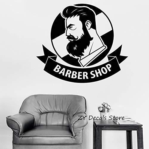 Barber Shop mit Band logo Dekor Abziehbilder für Schönheitssalon für Männer Entfernbare Vinyl Wandaufkleber Schaufenster Dekoration 65X56CM