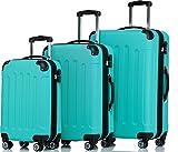 SHAIK ® 3-tlg. Hartschalen Kofferset, Trolley, Koffer, Reisekoffer, 32/78/124 Liter, 4 Doppelrollen, 25% mehr Volumen durch Dehnfalte (Türkis)