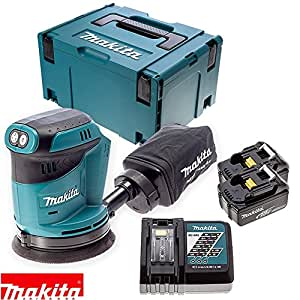 makita dbo180z 18v orbit sander with 2 x 4ah batteries. Black Bedroom Furniture Sets. Home Design Ideas