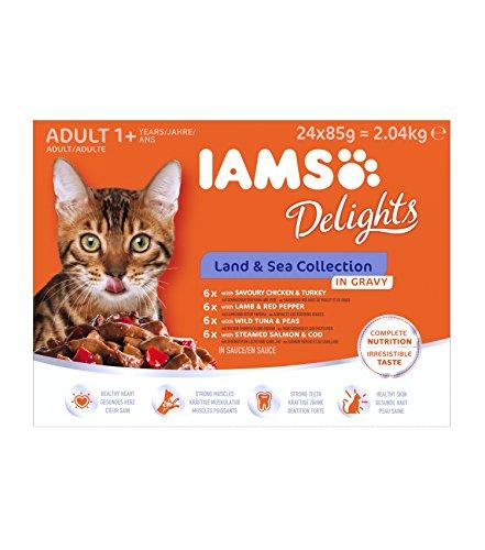 Iams Delights Land and Sea Collection Nassfutter (für erwachsene Katzen, mit verschiedenen Fleisch- und Fisch-Sorten in Sauce, Multibox) 24 Frischebeutel (24 x 85 g) (Katze Fleisch)