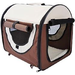 Outsunny - Trasportino/cuccia per cani/gatti e animali domestici - gabbia da trasporto - S 46x36x41cm - caffè