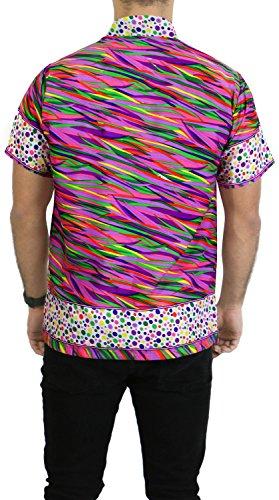 LA LEELA Strand Hawaiihemd Herren XS - 5XL Kurzarm Front-Tasche Hawaii-Print Casual Button Down Hemd Lila Violett