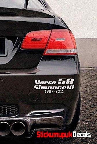 Marco Simoncelli 58Qualität Vinyl für Auto/Motorrad Aufkleber, Moto GP (weiß)
