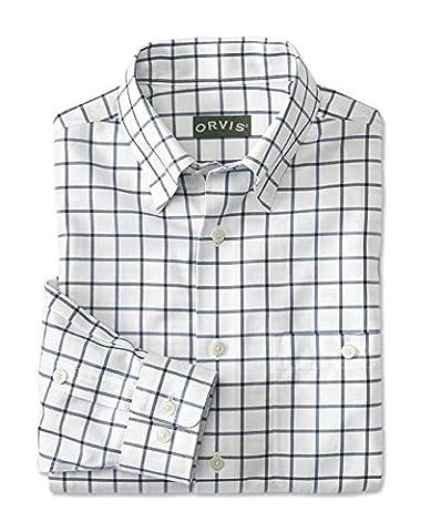 Orvis Hidden-button-down Wrinkle-free Cotton Twill Shirt, White Blue,
