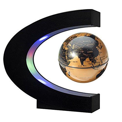 3 Pouces Globe Teresstre Magnétique Lévitation Rotatif Lumineux Cadeau de Fête Décoration Maison Bureau Chambre, Gold