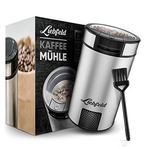 Liebfeld [200W] Elektrische Kaffeemühle mit 65g Füllmenge I Edelstahl Kaffemühle für genussvollen Geschmack I Coffee Bean Grinder, Nussmühle