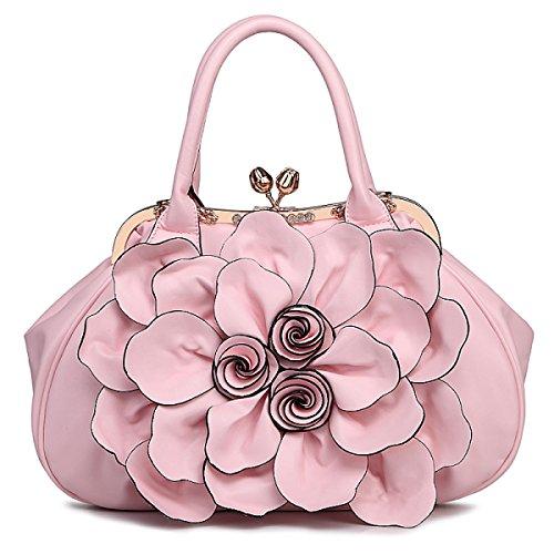 QPALZM QPALZM Frau 2017 Handtaschen-Blumen-Beutel-Schulter-Beutel-Kurier-Beutel-Art- Und Weisedame-Beutel PU-Frauen-Beutel Pink