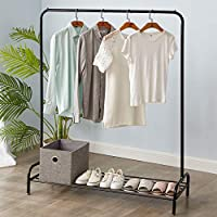 Vivo Heavy Duty Metal Clothes Hanging Rail Clothing Coat Dress Shirt Garment Stand with Shoe Rack Shelf