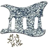 IKN 3Ply Grey Pearl Color SSS Guitar Pickguard Scratch Plate with Screws for Strat Squier Style Guitar