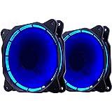 EasyDiy 120mm LED Silent Fan für PC, Gehäuse-Kühler und Radiatoren Flüsterleise Hohe Airflow Computer Case Fan, 2er-Pack-BLUE