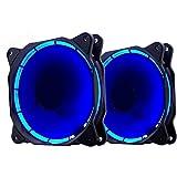 EZDIY-FAB 2-Pack 120 Millimetri LED Silenziosa Ventola per PC,Dispositivi di Raffreddamento di Case, e Radiatori Ultra Silenzioso Elevato Flusso d'Aria Computer Case Fan-Blu