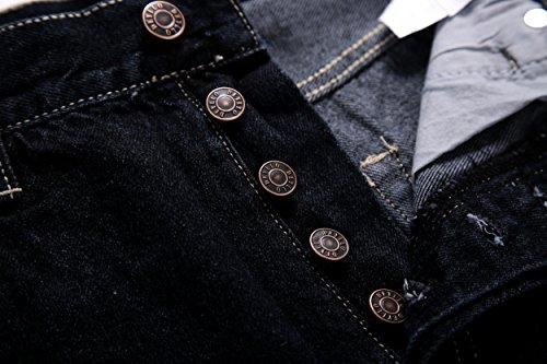 Deyllo Herren Klassisch Hochverschleißfest Straight Fit Jeanshose Jeans Denim Hose Schwarz(Dark Rinse)