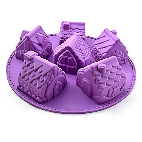 kelaina Creative Häuser geformter Schokolade Form Backform für Backen Werkzeug (lila) (Schokoladenformen Haus)
