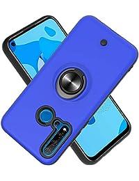 Funda para Huawei P20 Lite (2019)/ Nova 5i Soft TPU + Duro PC Doble Parachoques,Giroscopio Rotatorio,Botón de Descompresión, con Soporte de Anillo Funda Protectora Serie -Azul Marino