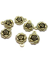 Beadsnfashion German Silver Charms Golden 17x14 mm, Pack Of 25 Pcs.