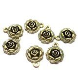 #7: Beadsnfashion German Silver Charms Golden 17x14 mm, Pack Of 25 Pcs.