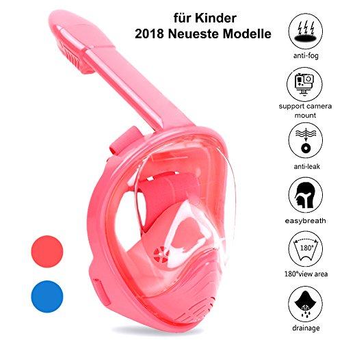 Zenoplige Schnorchelmaske Tauchmaske mit 180° Breitsicht mit Schnorchel und Anti-Beschlag, Rosa/Kinder