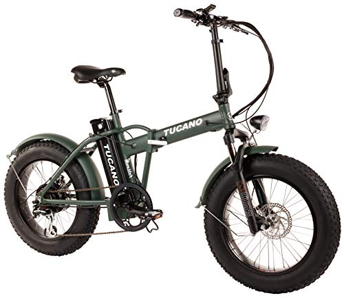 "Tucano Bikes Monster 20 - Bicicleta Eléctrica Plegable Fat Bike 20"" - Motor: 500W - con Display LCD con 9 Niveles de Ayuda en Color Verde Mate"