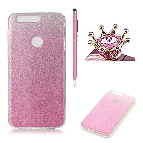 huawei-honor-8-caseskyxd-gradient-color-pink-luxury-sparkle-glitter-slim-soft-flexible-silicone-prot