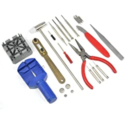 TRIXES Watch Repair Tool kit 30 Pieces with Case Batteries Links Watch Strap
