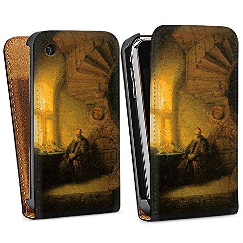 Apple iPhone 6 Housse Étui Silicone Coque Protection Rembrandt van Rijn Tableau Philosophe - en méditation Sac Downflip noir