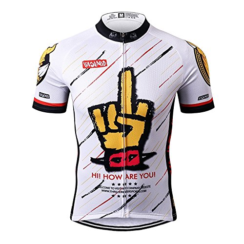 Thriller Rider Sports Hombre Rock Music White Thriller Rider Sports Hombre Deportes y Aire Libre Maillot Manga Corta de Ciclismo Large