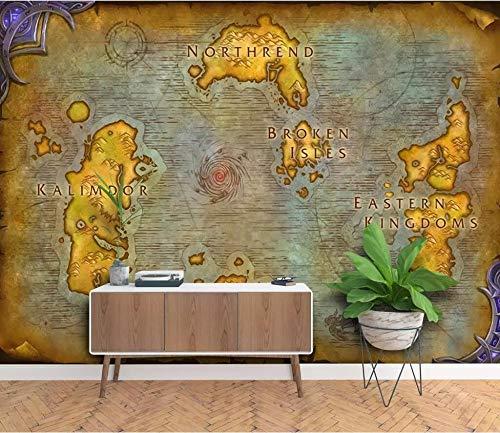 ADDFLOWER Benutzerdefinierte Wallpaper 3D Wandbild Europäische Antike Karte Online Spiel Weltkarte Hintergrund Wandpapier, 400X280 Cm (157,5 Von 110,2 In)