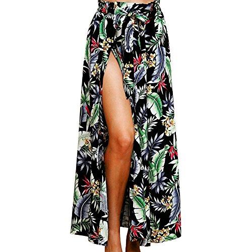 PinkLu Röcke Damen BöHmischer Stil Blumendruck Big Swing Kleid Wild Hohe Taille Schlank Elegant Urlaub Am Meer FrüHling Und Sommer Neuer HeißEr 3-Farbiger Rock