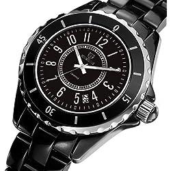 LUFA Herrenunterwasser 50M Quarz Uhr Keramik Band Bügel beiläufige Armbanduhr schwarz Anzahl & 38mm