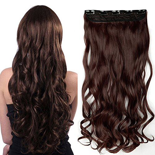 Extension capelli clip one piece 24 inch 60cm sintetico extension capelli ondulati fascia unica con 5 clip 3/4 full head 120g - marrone rossiccio scuro