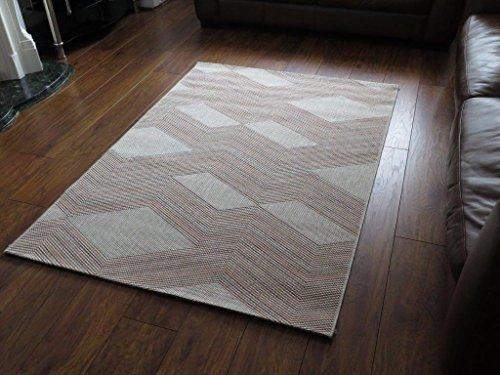 Relación de 120 x 170 cm Alfombra de polipropileno Twist diseño de líneas en zigzag, crema
