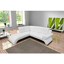 JUSThome ORION Sofá esquinero chaise longue de piel ecológica 225 x 212 cm Blanco Brazo izquierdo