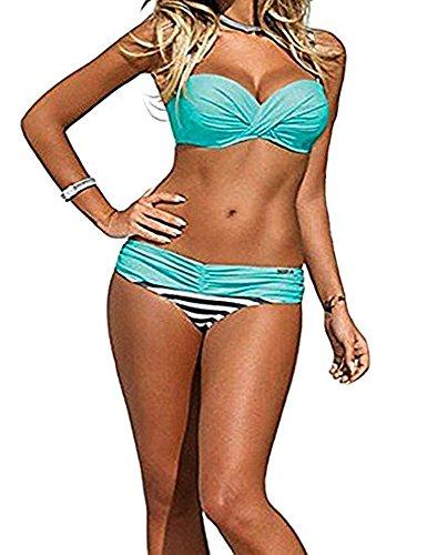 DODOING Bikini Set, Damen Sexy Push up Gepolstert Streifen Tupfen Triangel Brasilianische Bikini Beachwear Bademode (Sheer Thong Hot)