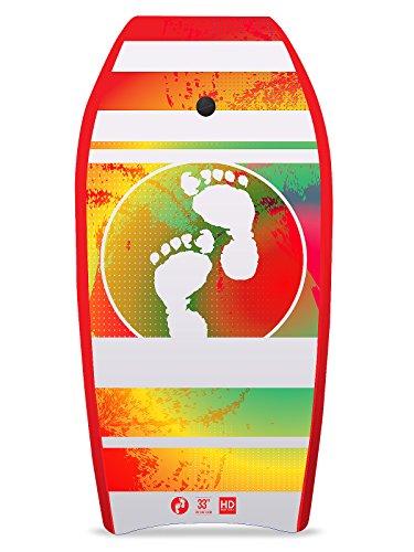 Two Bare Feet Slick Board/ Bodyboard, Kern aus XPE-Schaum und EPS (Polystyrol), inklusive Handgelenk- und Knöchelgurt, 84 cm, Herren, Red Storm Chaser