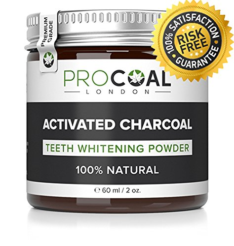 Activated Charcoal Natural Teeth Whitening Powder by PROCOAL (Premium Grade Activated Charcoal) - Made in UK, 100% Natural, Vegan, Cruelty-Free & Fluoride-free