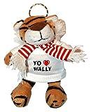 Tigre de peluche (llavero) con Amo Wally en la camiseta (nombre de pila/apellido/apodo)
