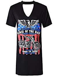 Ladies American Rock Band Graphic Slogan Print Cut Out Choker T-Shirt Dress Size