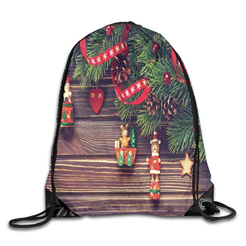 GONIESA Fashion New Drawstring Backpacks Bags Daypacks,Rustic Wooden Backdrop December Old Christmas Noel Time Theme Ribbon Print,5 Liter Capacity Adjustable for Sport Gym Traveling
