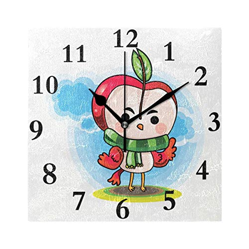 Wall Clock Illustration of Cartoon Character Wearing Scarf Silent Non Ticking Decorative Square Digital Clocks Indoor Outdoor Kitchen Bedroom Living - Hobo Kostüm Für Jungen