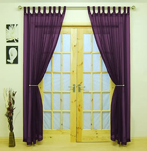 Purple Woven Voile Tab Top Panel. Buy One Panel Get