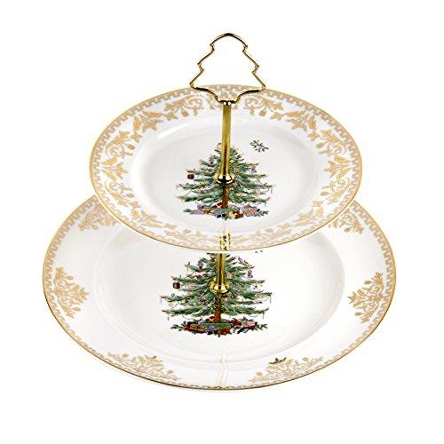 Spode Christmas Tree 2-Tier Cake Stand, Gold 2 Spode Christmas Tree