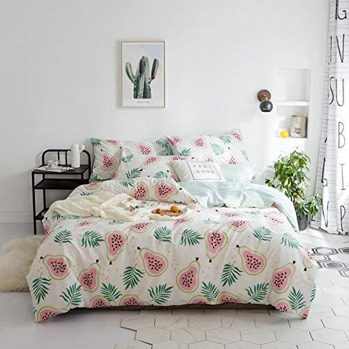 Anmou EIN Bettbezug Set mit Einfarbigen Einfachen Baumwolle / 1,5M-2,0M Bett/Männer Und Frauen Baumwolle Bett Vier Sätze Von Bettwäsche@Wassermelone_200 * 230 cm Bettbezug (1,5/1,8 M Bett) -