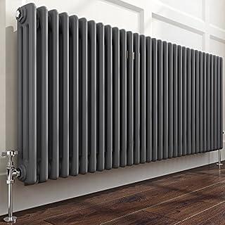 iBathUK | 600 x 1455 mm Traditional Cast Iron Anthracite Triple Panel Horizontal Radiator