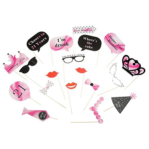 Pixnor 21Pcs Photo Booth Requisiten auf Stick 21. Geburtstag Party Brille Photo Booth Requisiten Lippen Krone Tie DIY-Kits (Photo Booth Geburtstag Ideen)