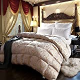 Duvet Satin Jacquard doppellagigen Seitendaunenbett 1200 Fadenzahl 100% ägyptischer Baumwolle, 750+ Fill Power, 60 Unzen Füllgewicht