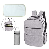 Baby Changing Bag Backpack - Double Elite (D.E.) Unisex Baby Changing Bag Rucksack, Nappy Backpack, Baby Bag for Mums and Dads with Insulated Bottle Holder, Stroller Straps, Waterproof Changing Pad, Grey