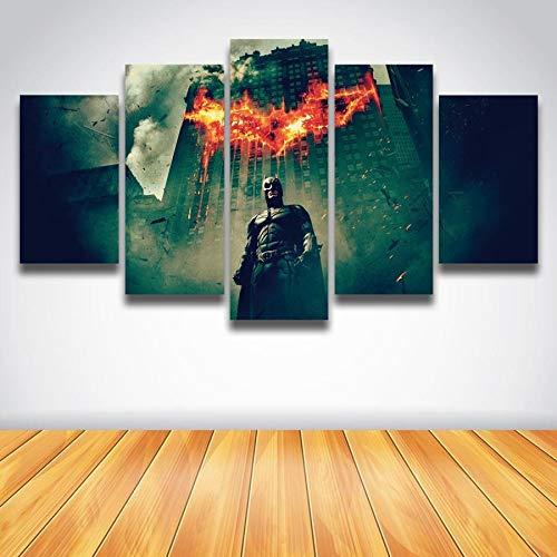 ERQINGWL 5 Stück Leinwand Gemälde Wandkunst Gestreckt Retro-Stil Film Bild Batman Malerei Leinwand 5 Panels Set Für Wanddekoration Kunstdruck - Vier Stück Panel