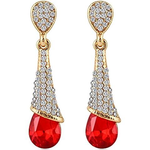 SaySure–Trendy chapados en oro geométrico Cristal Lágrima Pendientes, Mujer, Red 12E22