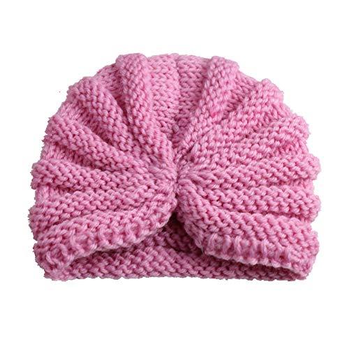 DOTBUY Warme Baby Mütze Knit Head Wraps Kleinkind Kinder Hüte Junge Mädchen Gestrickte Häkeln Beanie Winter Slouch Stirnbänder verknotete Gefüttert Strickmütze Wintermütze (#Pink 2) Knit Slouch Hut