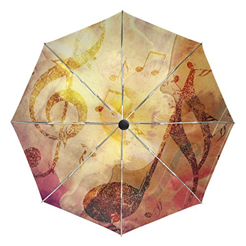 Baihuishop Note de musique coupe-vent parapluies automatique Open Close 3pliable solide et résistant de golf Parapluie de voyage compact protection UV légère portable facile à transporter et antidérapant Poignée